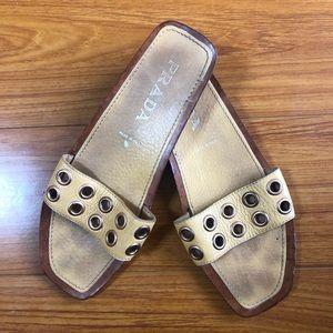 Tan Prada Slide Sandals